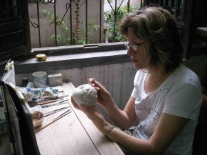 2007, Diana carving apple from Garden of Eden series. Fragrant Garden studio, Jingdezhen